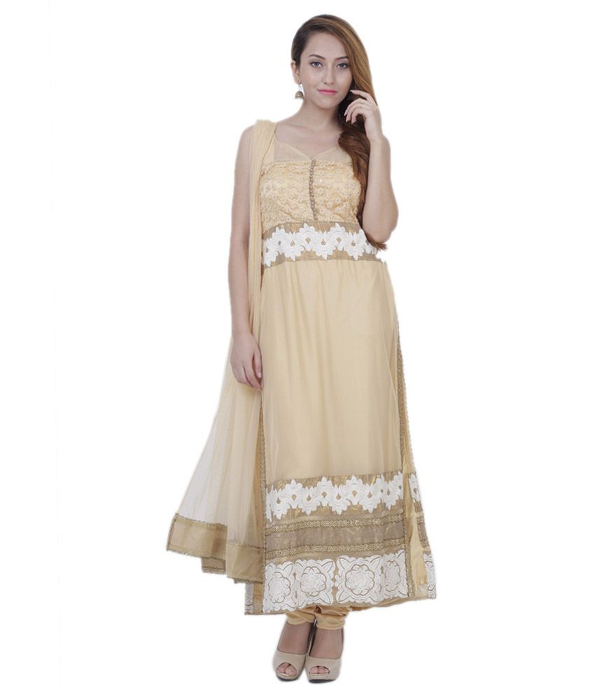 Frills N Style Beige Net Stitched Suit