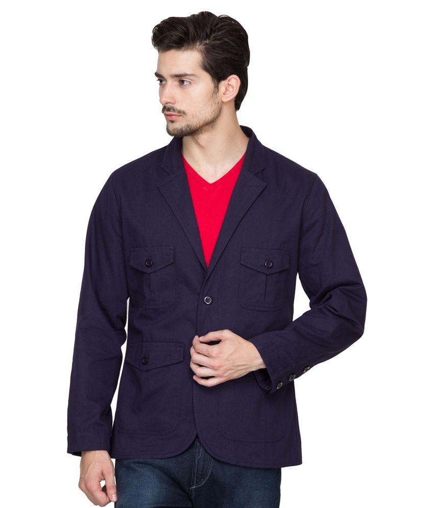 Hypernation Navy Blue Cotton Casual Blazer