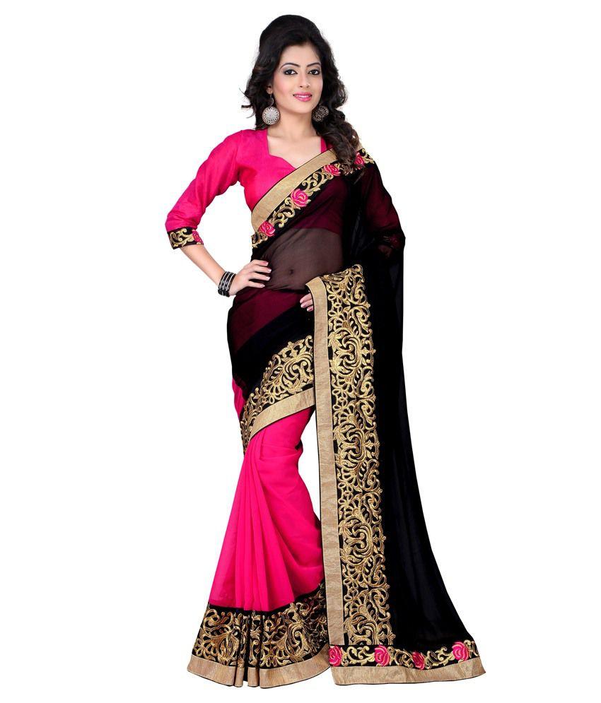 Kesar Sarees Black Georgette Saree Buy Kesar Sarees