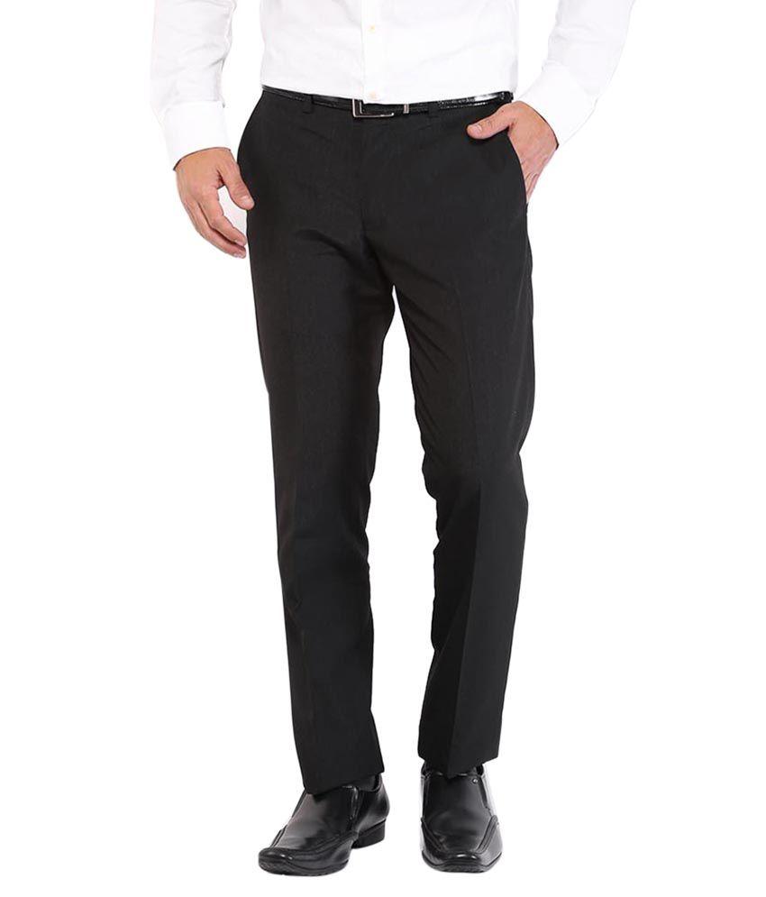 Ubique Black Regular Formal Trousers
