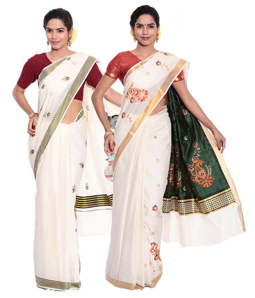 Fashion Kiosks White Kerala Kasavu Cotton Saree with Matching Blouse (Pack of 2)