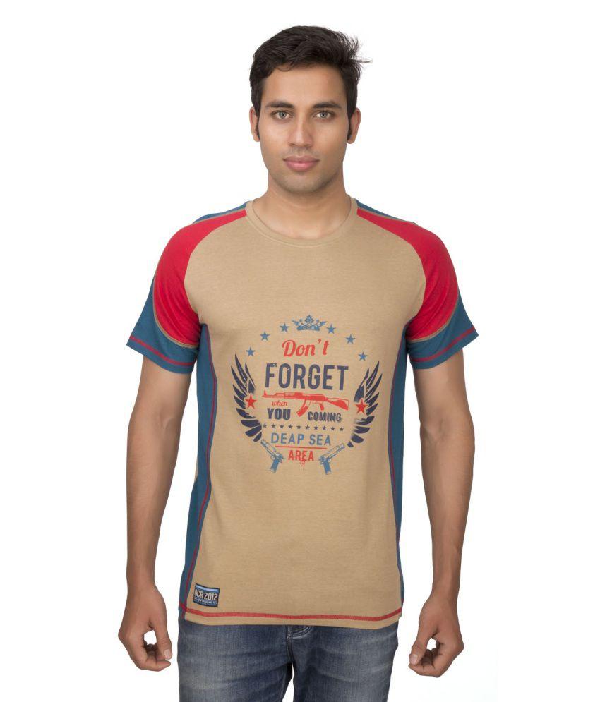 Ocean Race Beige Cotton Round Neck T Shirt For Men