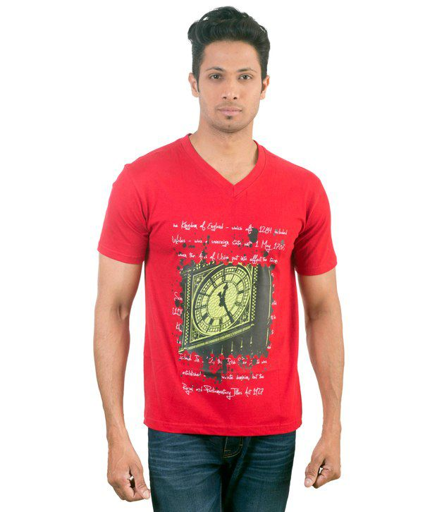 Oviyon V-neck Half sleeve Graphic T-shirt
