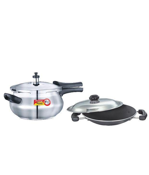 Combo of Prestige Deluxe-Alpha Base 4.4 Ltr Junior Handi Pressure Cooker & Omega Select Plus Appachatty
