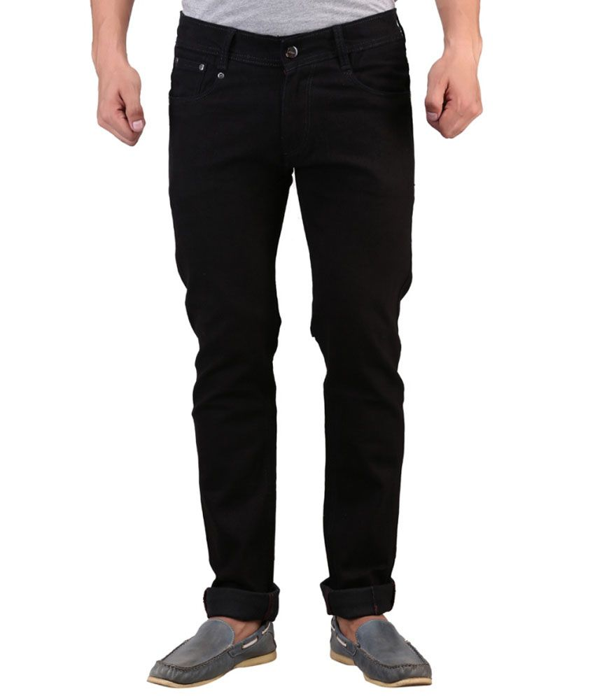 X-Cross Black Cotton Blend Regular Fit Jeans