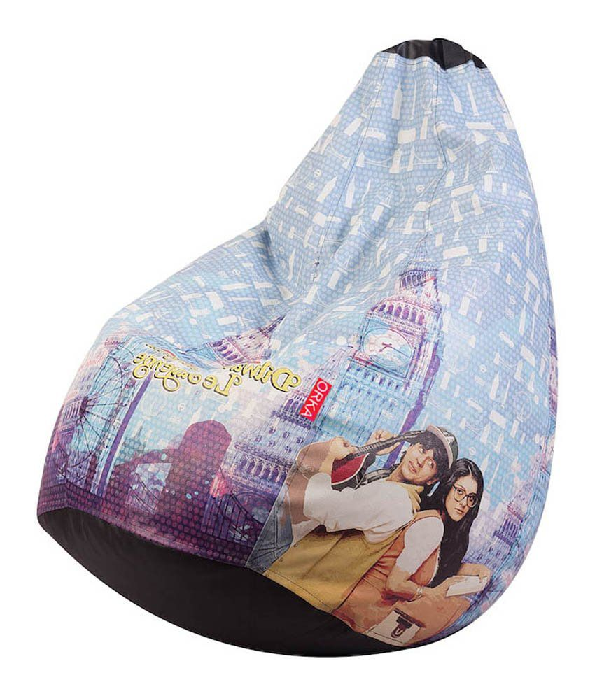 orka blue round ddlj printed bean bag xxl best price in india on 23rd may 2018 dealtuno. Black Bedroom Furniture Sets. Home Design Ideas