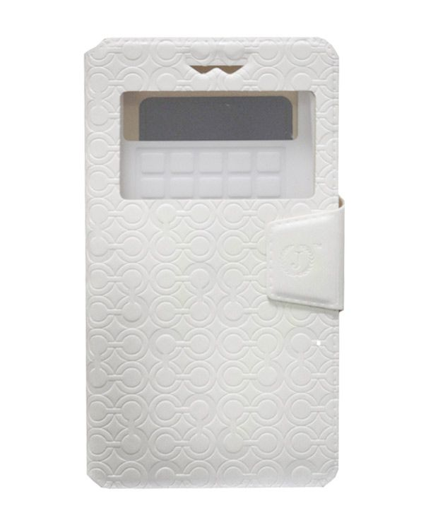 Jo Jo Cover Astro Series Leather Pouch Flip Case With Silicon Holder For Alcatel Pop Icon White