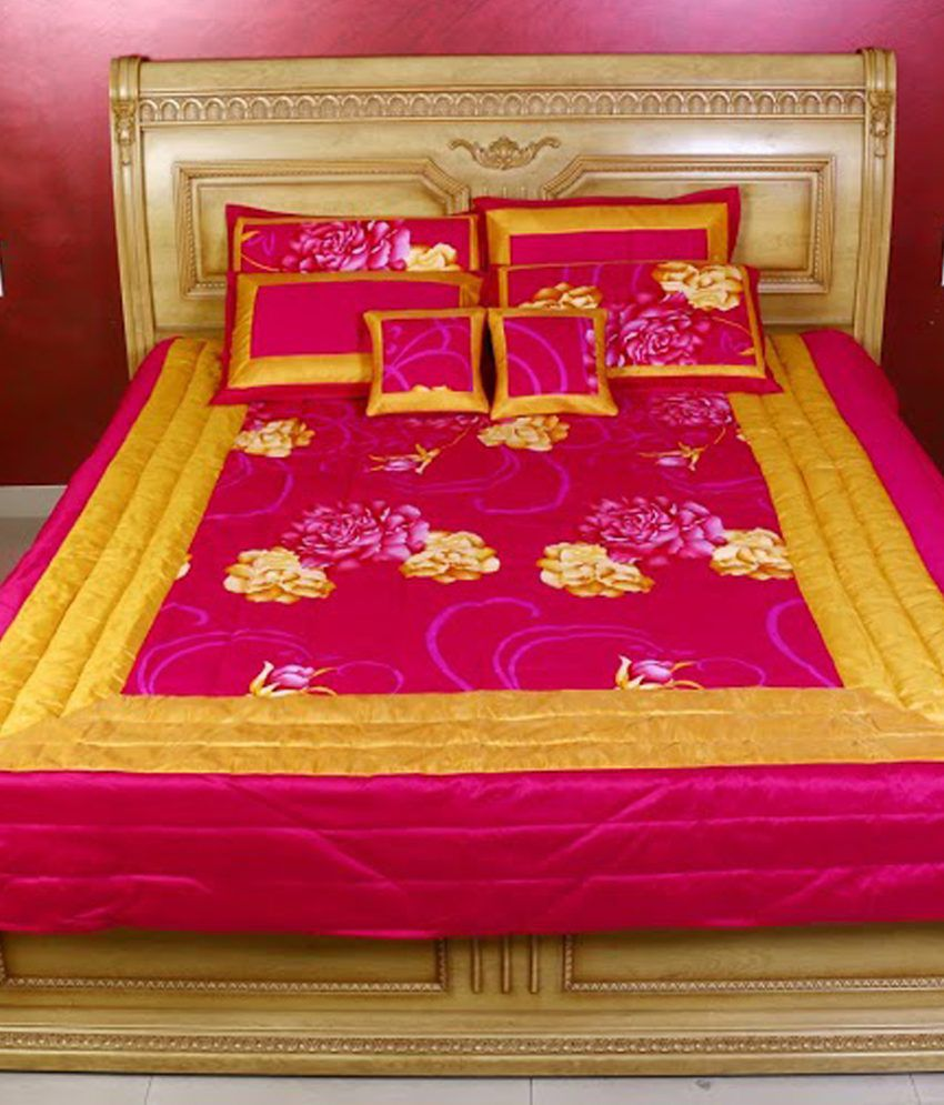 Kotton pink and yellow blends bedding set buy kotton - Pink and yellow comforter ...