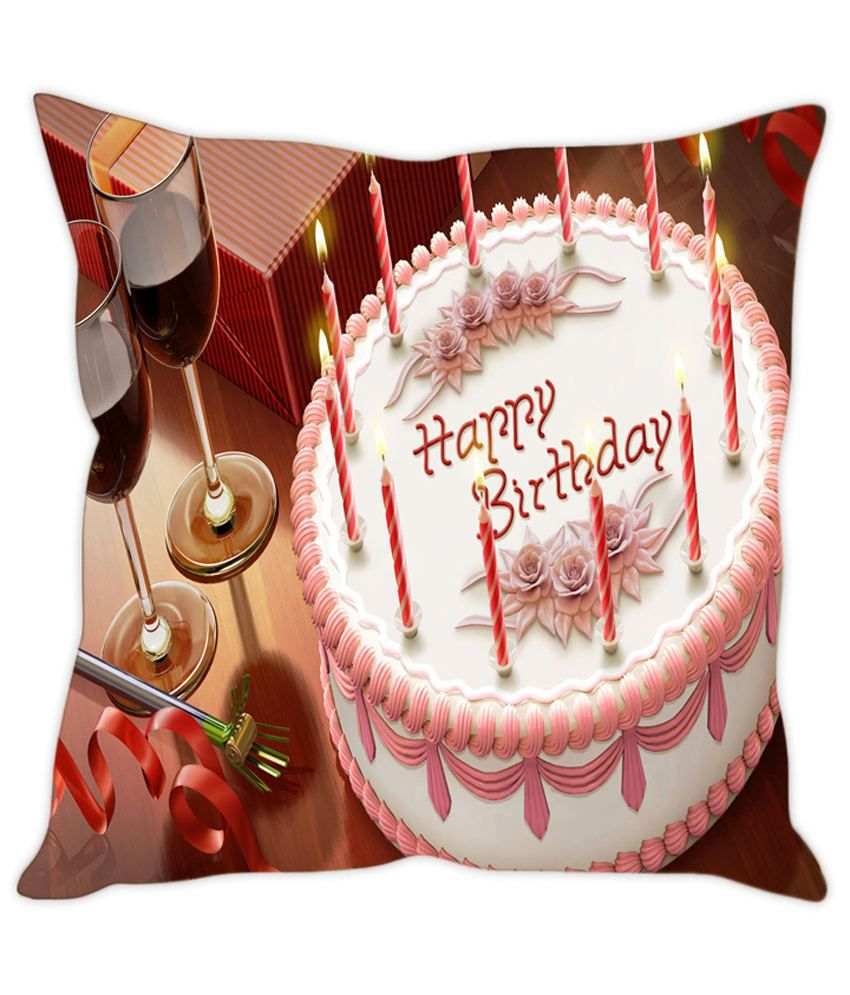 Rakesh Multicolour Birthday Cake Printed Cushion Cover
