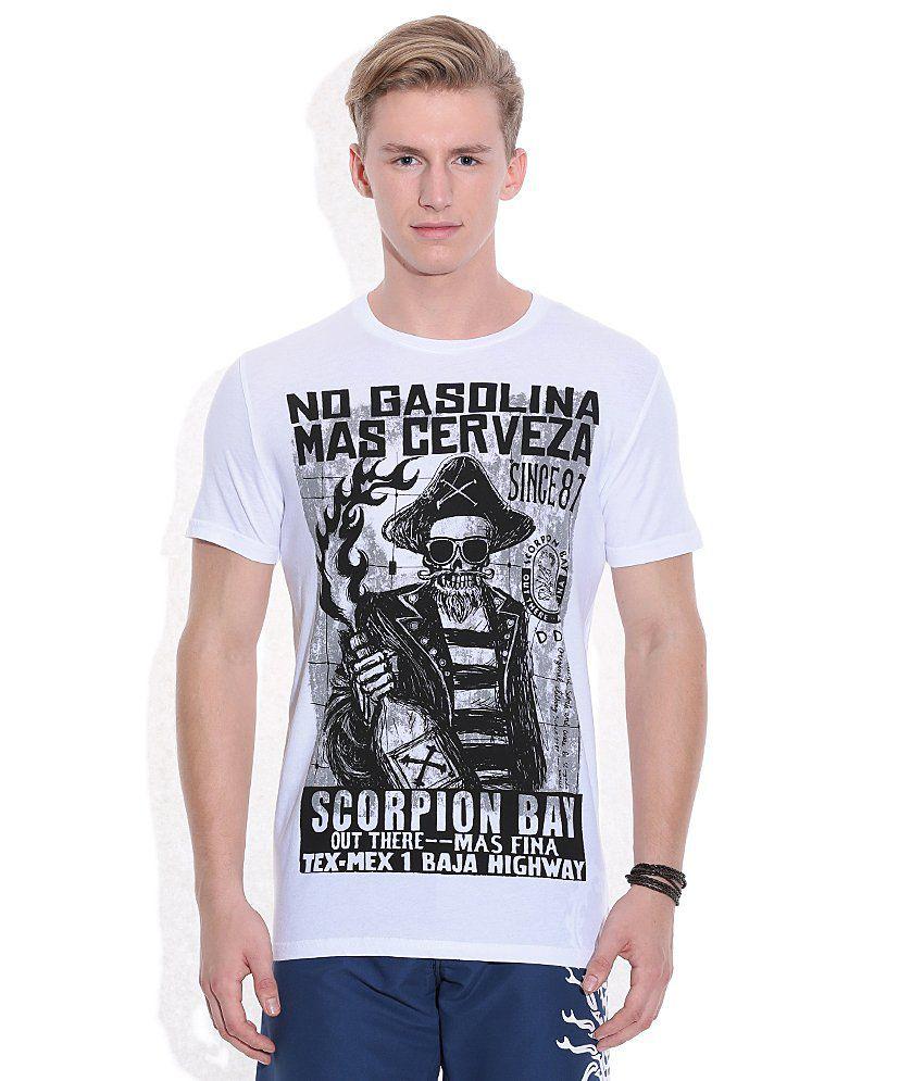 Scorpion White Printed Round Neck T Shirt
