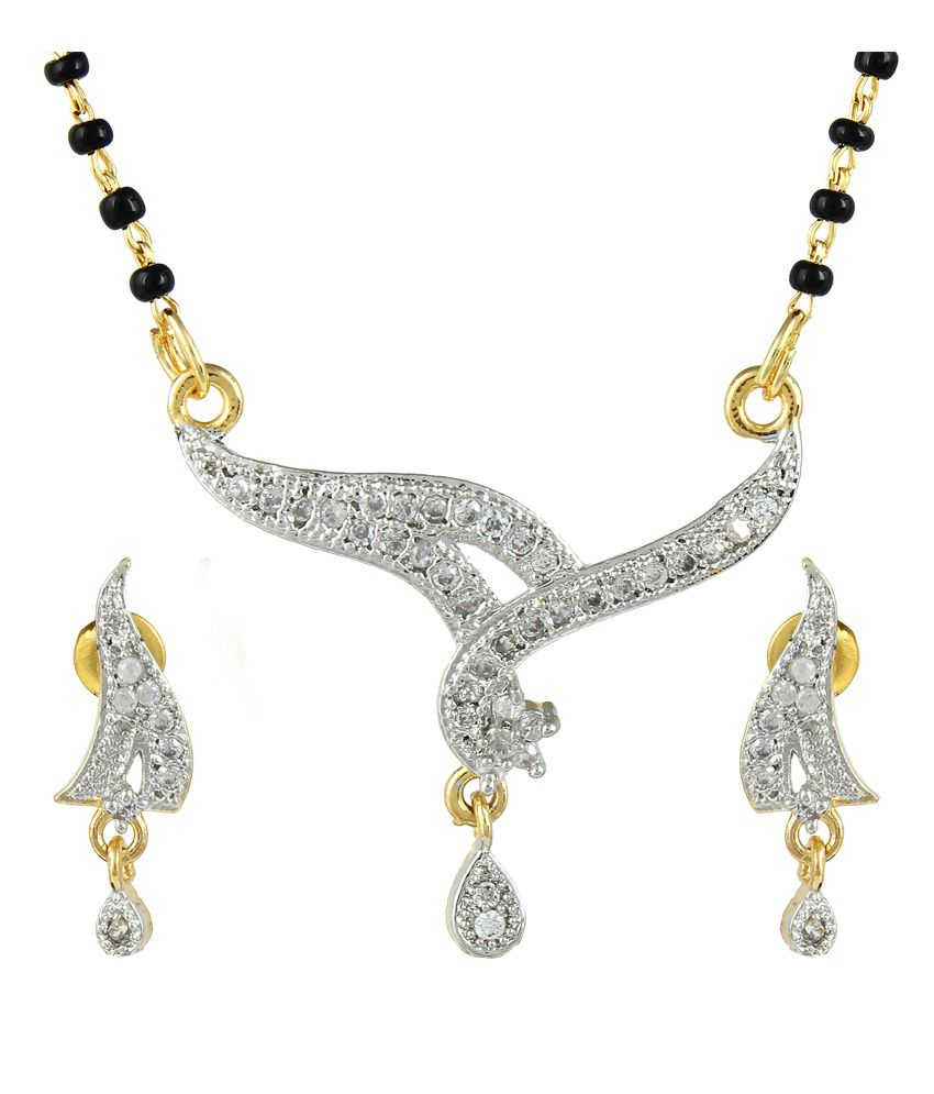 Dee Gee Golden Brass American Diamond Mangalsutra Set