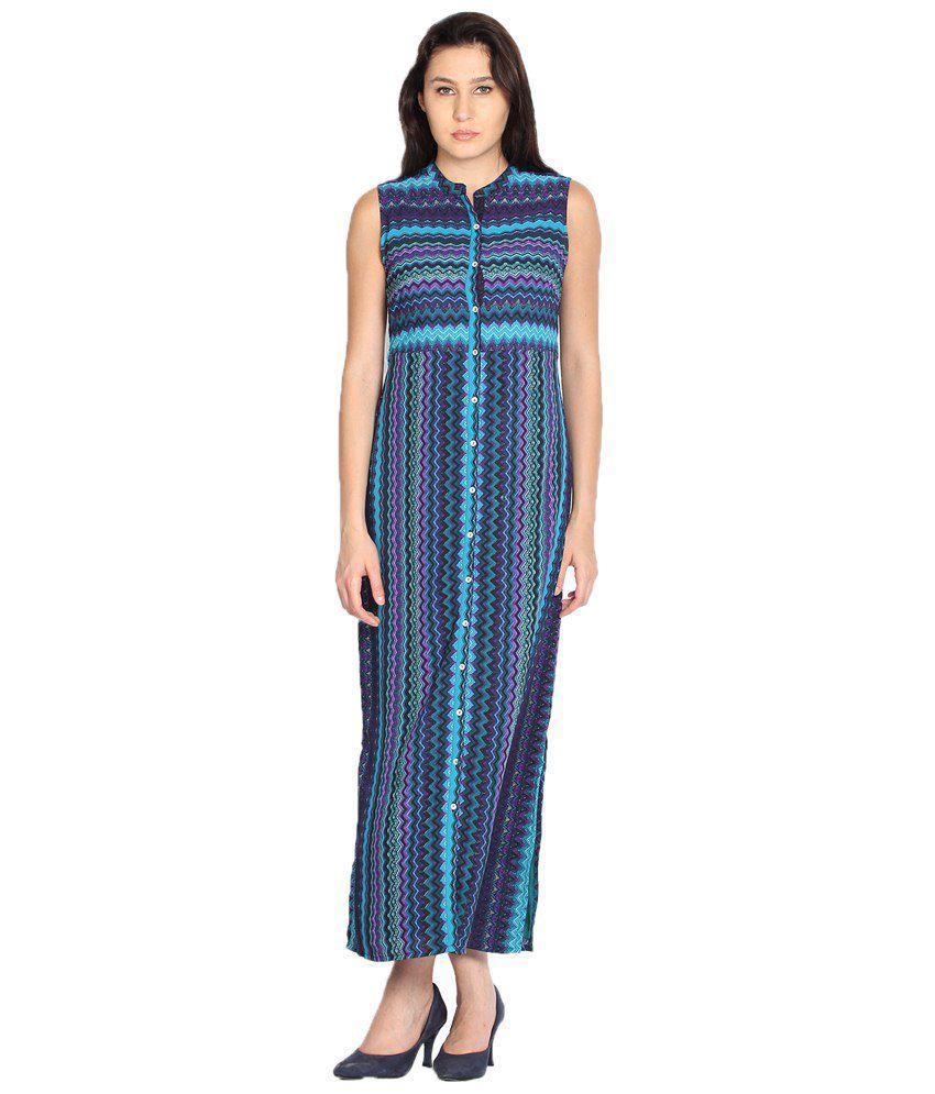 d19a2c9276a Folklore Blue Front Open Sleeveless Long Maxi Dress for Women
