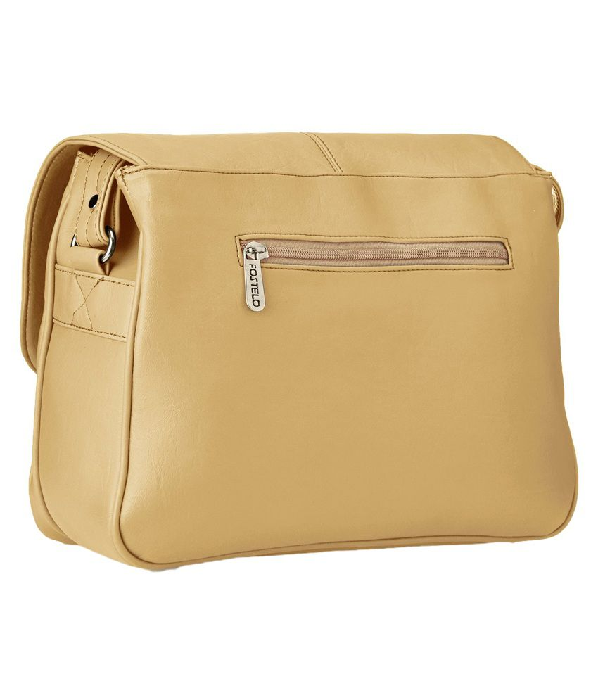 Fostelo Beige Faux Leather Sling Bag - Buy Fostelo Beige Faux ...