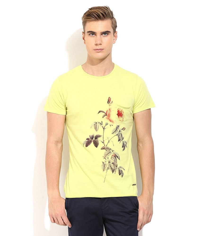 Sisley Yellow Printed Round Neck T Shirt