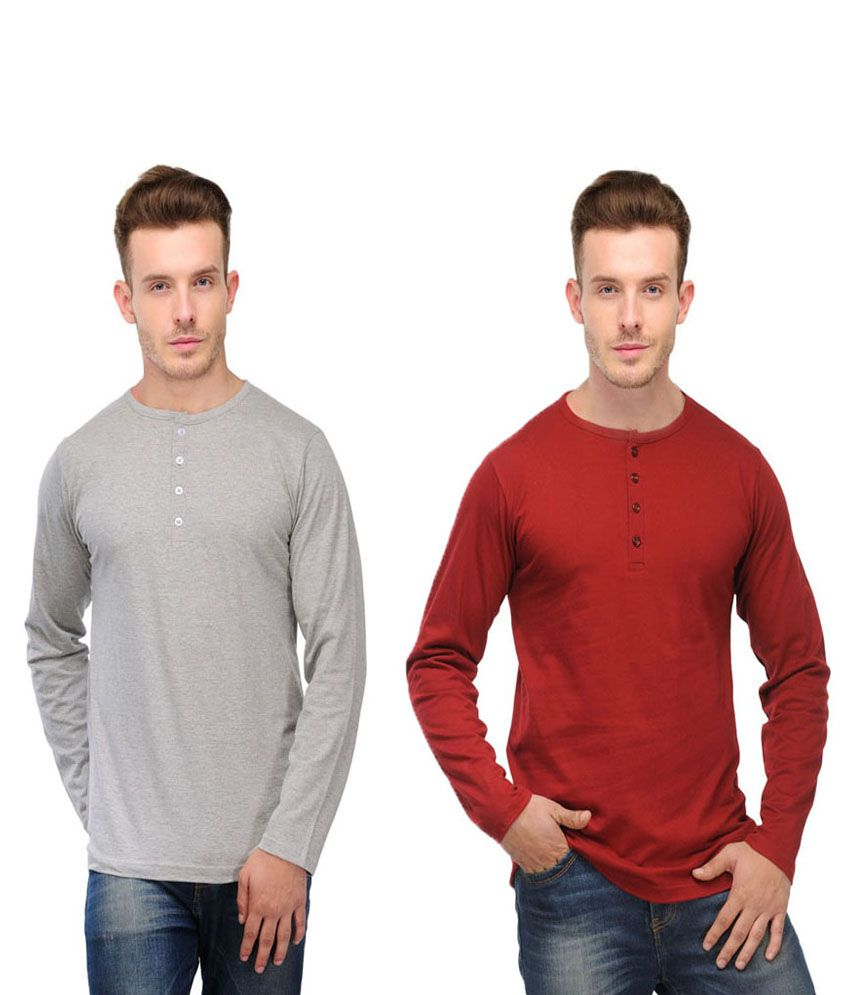 Ansh Fashion Wear Red and Grey Basics Wear T-Shirt - Pack of 2