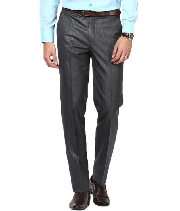 Pooja Garments Grey Cotton Regular Formals Trouser