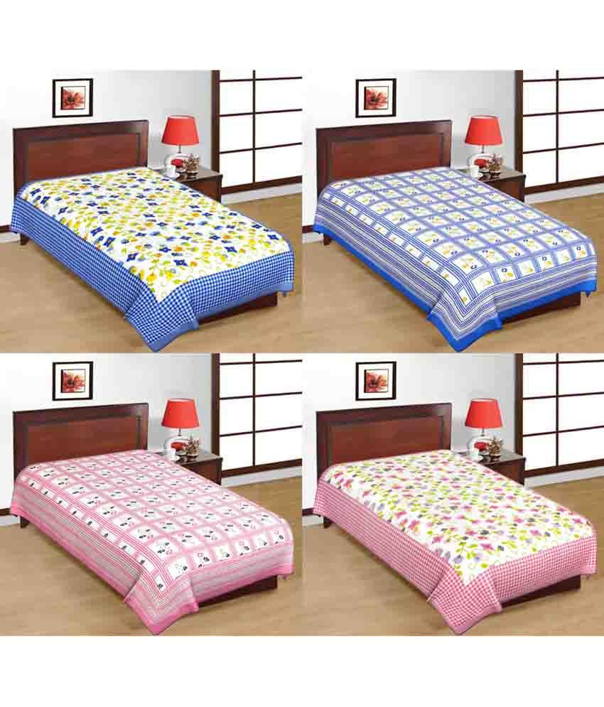 UniqChoice Multicolour Traditional Beautiful Printed Combo of 4 Single Bed Sheet