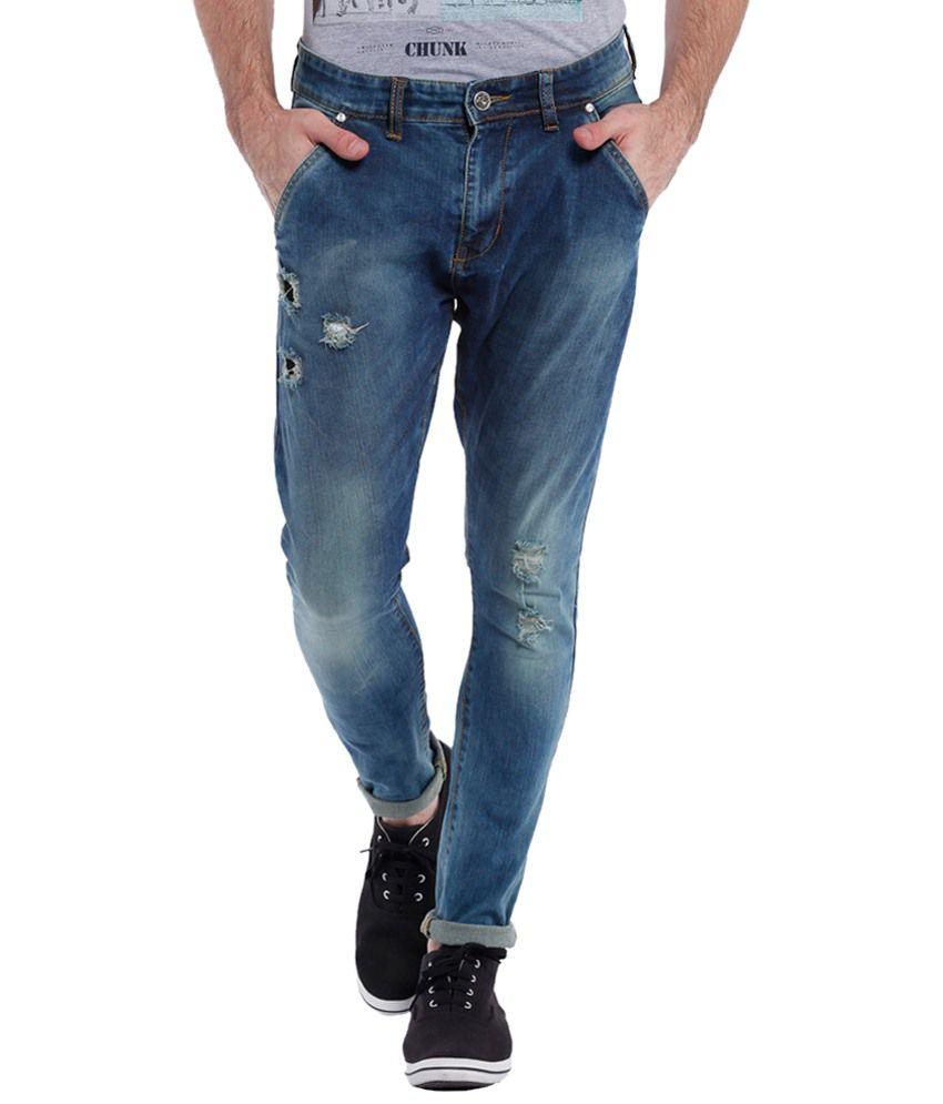 Vintage Blue Faded Rugged Jeans For Men