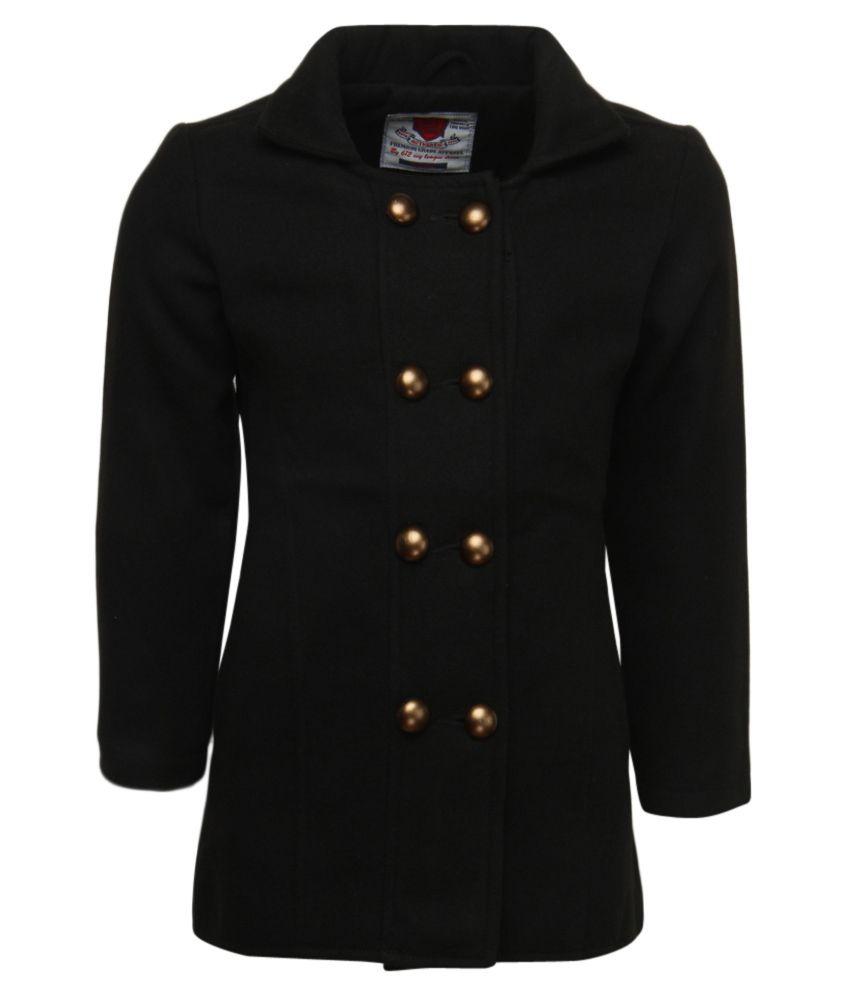612 League Black Full Sleeves A-Line Coat
