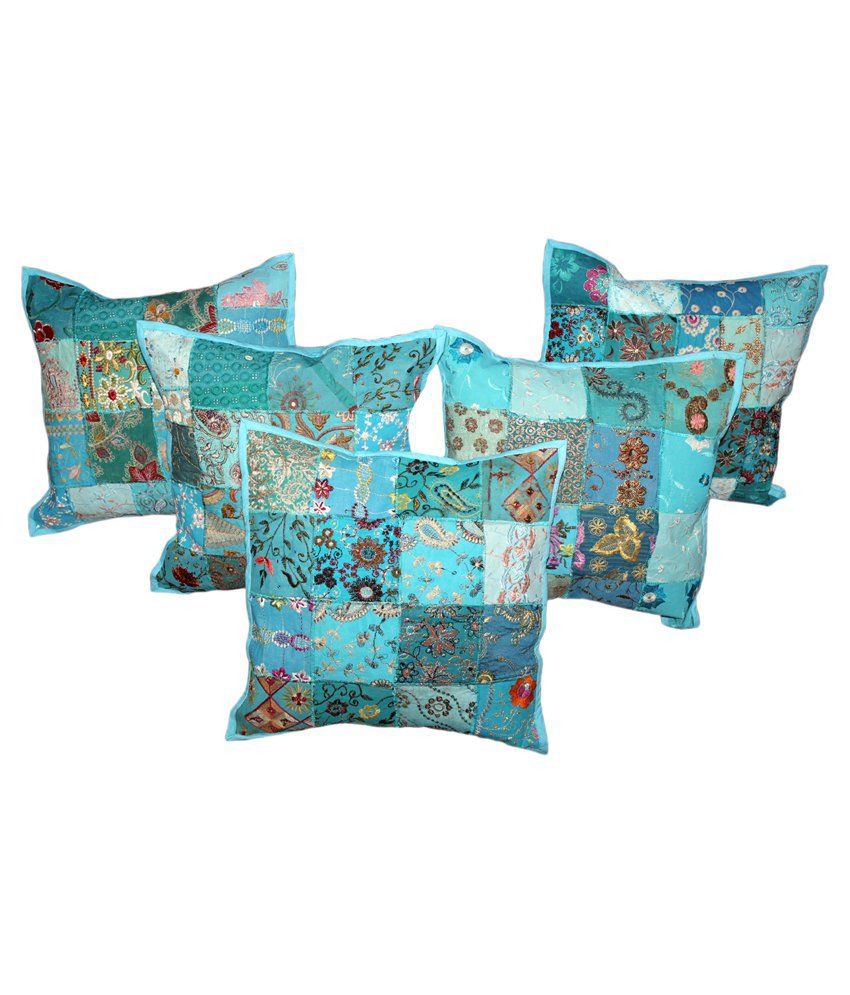 Fab Designs Blue  Pillow Cover Set of 5 Embroidery and patch  work Cotton Cushion Covers
