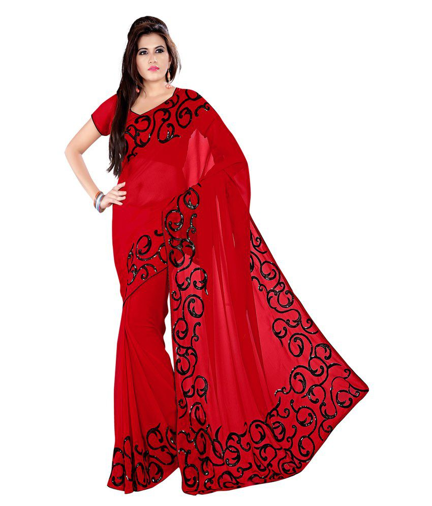Janasya Red Georgette Saree