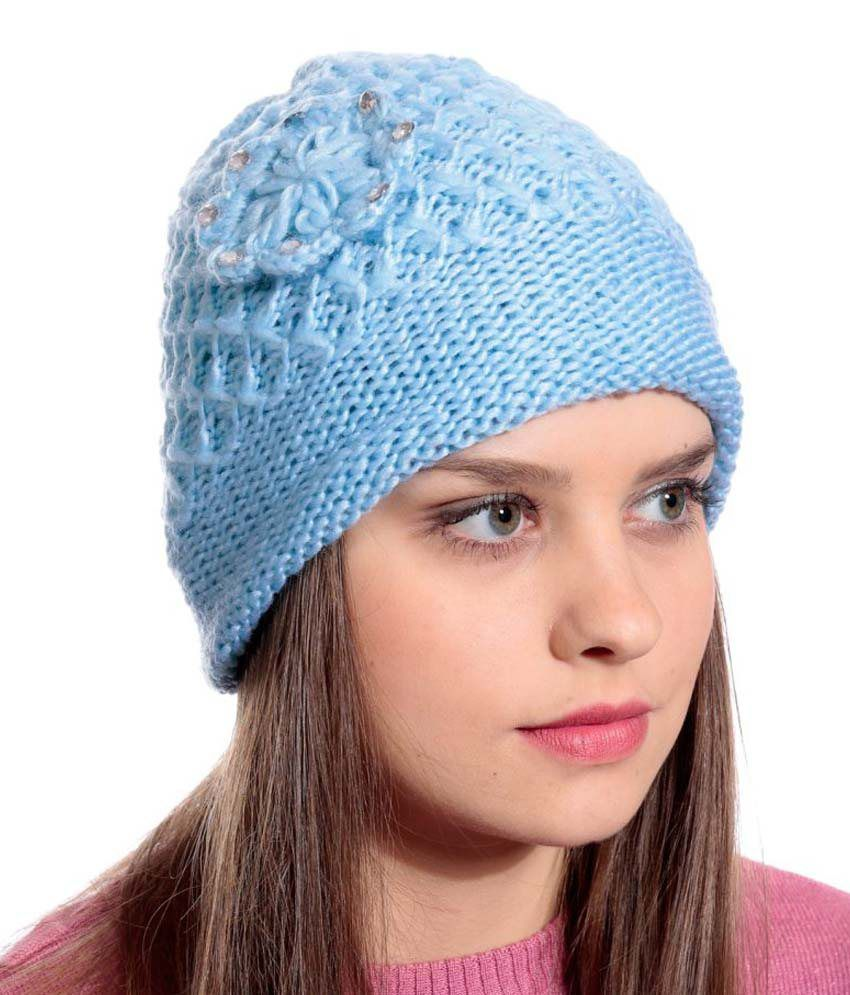 90 West Light Blue Woollen Cap