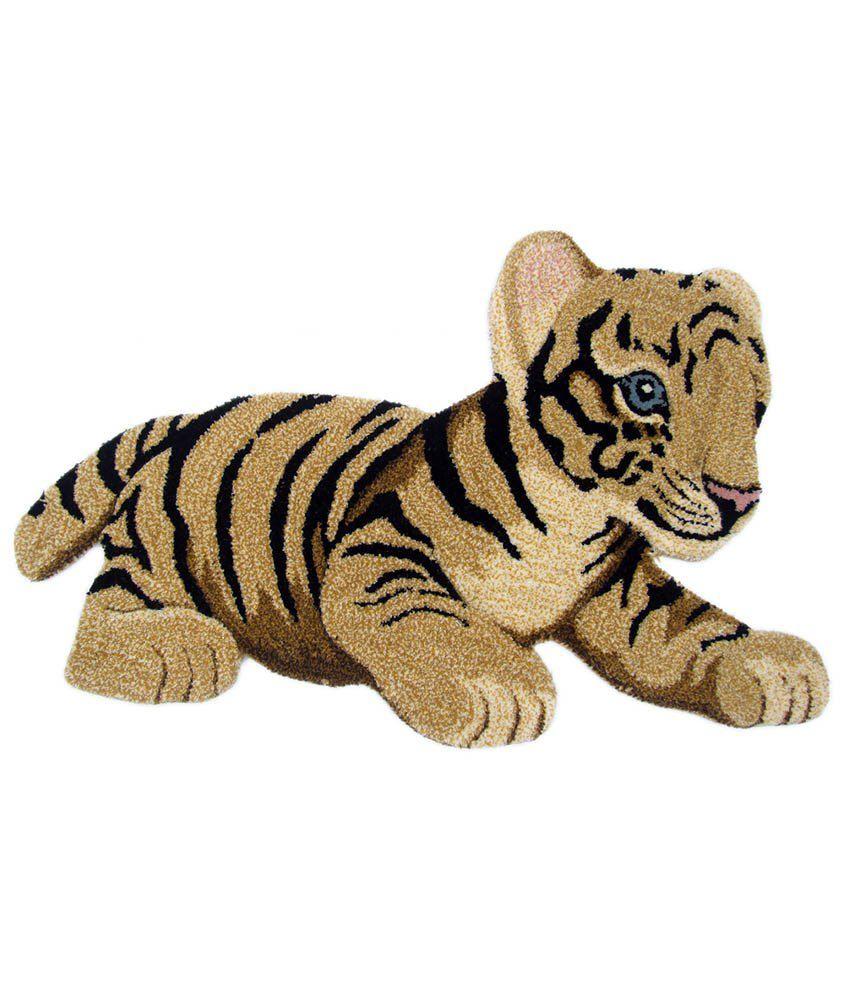 B B N Rugs Multicolor Woolen Hand Tuffted Tiger Rug