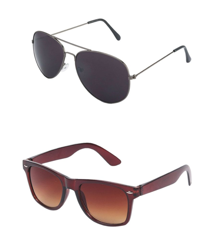 Combo of Brown and Silver aviator and wayfarer Sunglasses - Pack of 2