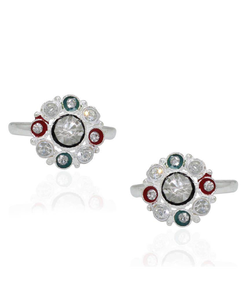 Pehchan Multi German Silver Toe-Rings