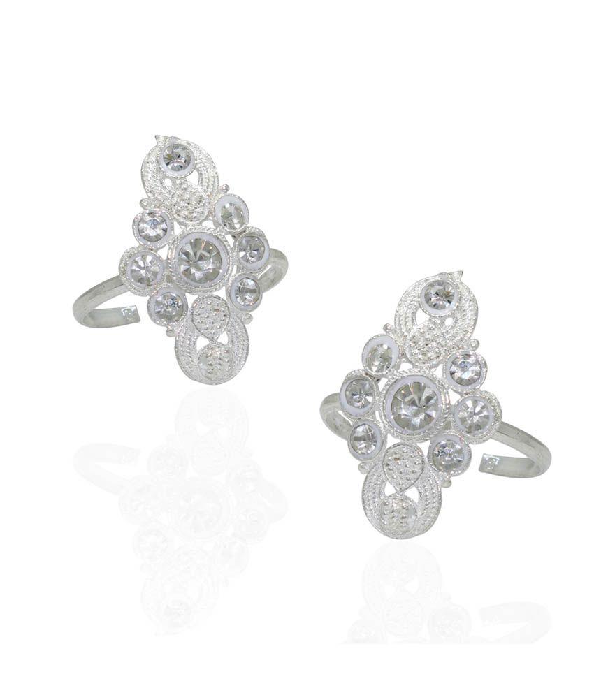 Pehchan White German Silver Toe-Rings