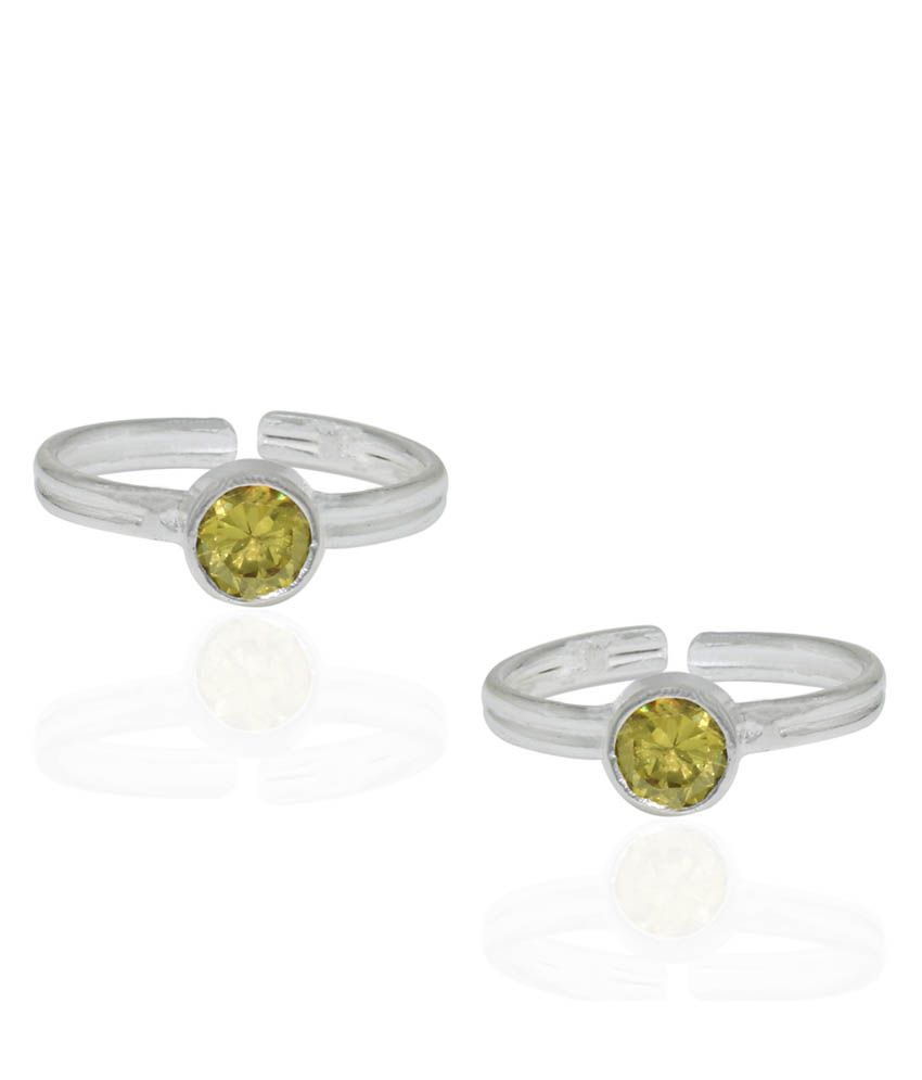 Pehchan Yellow German Silver Toe-Rings