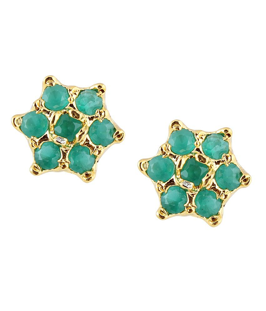 Archi Collection Green Colour Spark Alloy Stud Earrings