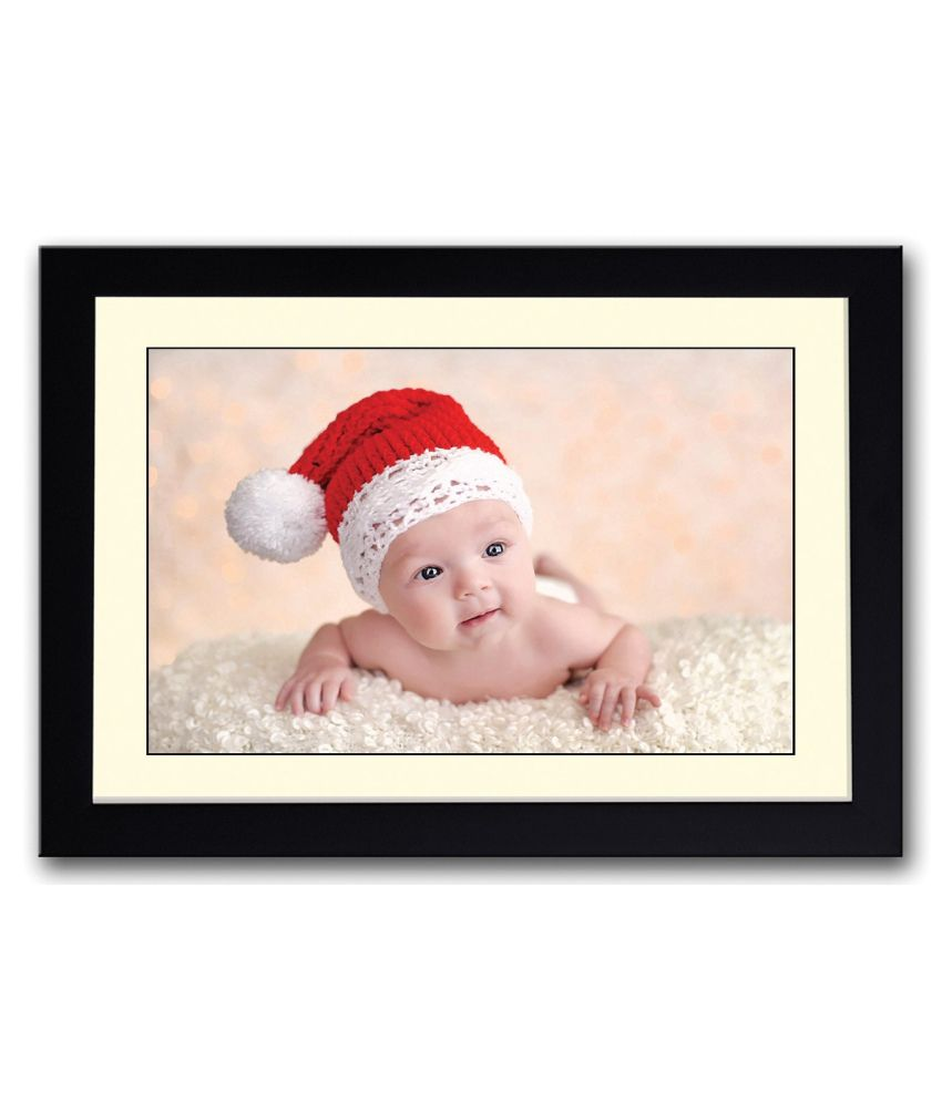 Artifa Matte Amazingly Cute Baby With Santa Hat Painting With Metal Frame