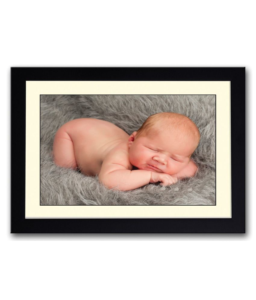 Artifa Matte Baby On Grey Fur Painting With Wood Frame