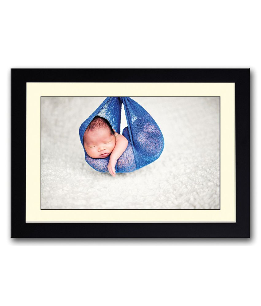 Artifa Matte Baby Sleeping In A Blue Swing Painting With Wood Frame
