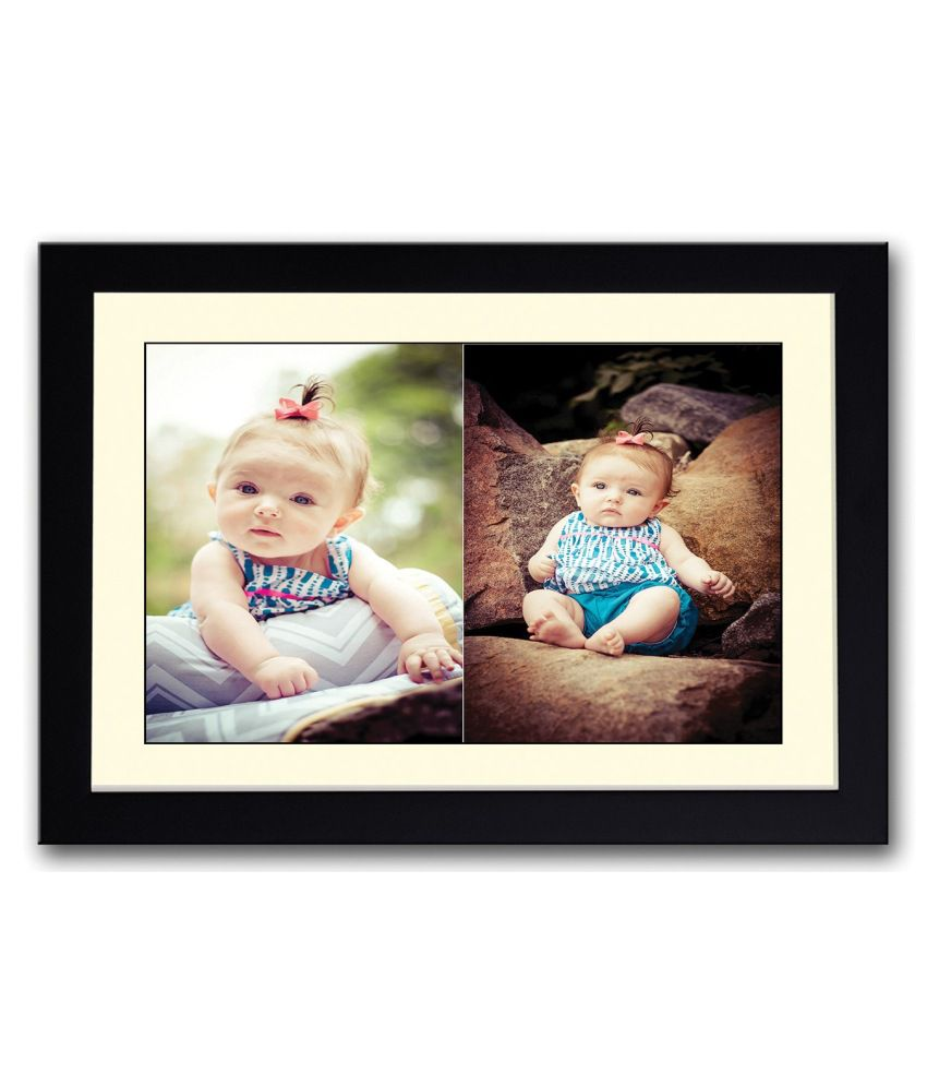Artifa Matte Cute Baby Girl On Rock Painting With Wood Frame