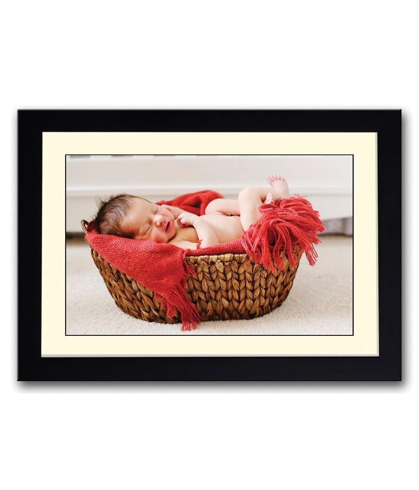Artifa Matte Cute Baby Sleeping In Wooden Basket Painting With Wood Frame