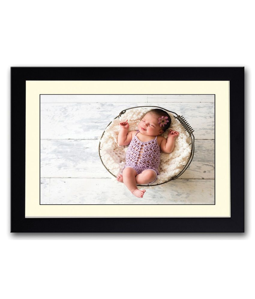 Artifa Matte Cute Little Baby In Basket Painting With Metal Frame