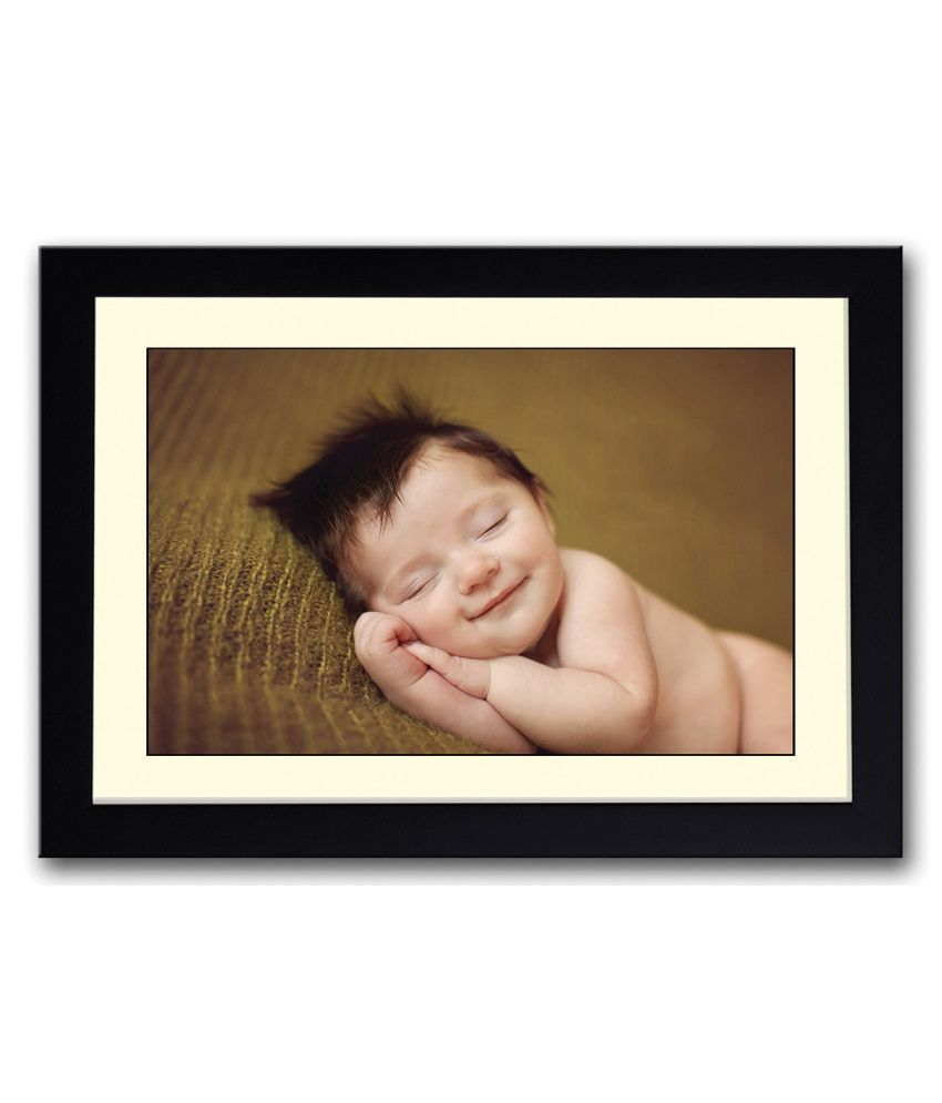Artifa Matte Cute Little Sleeping Baby Image Painting With Metal Frame