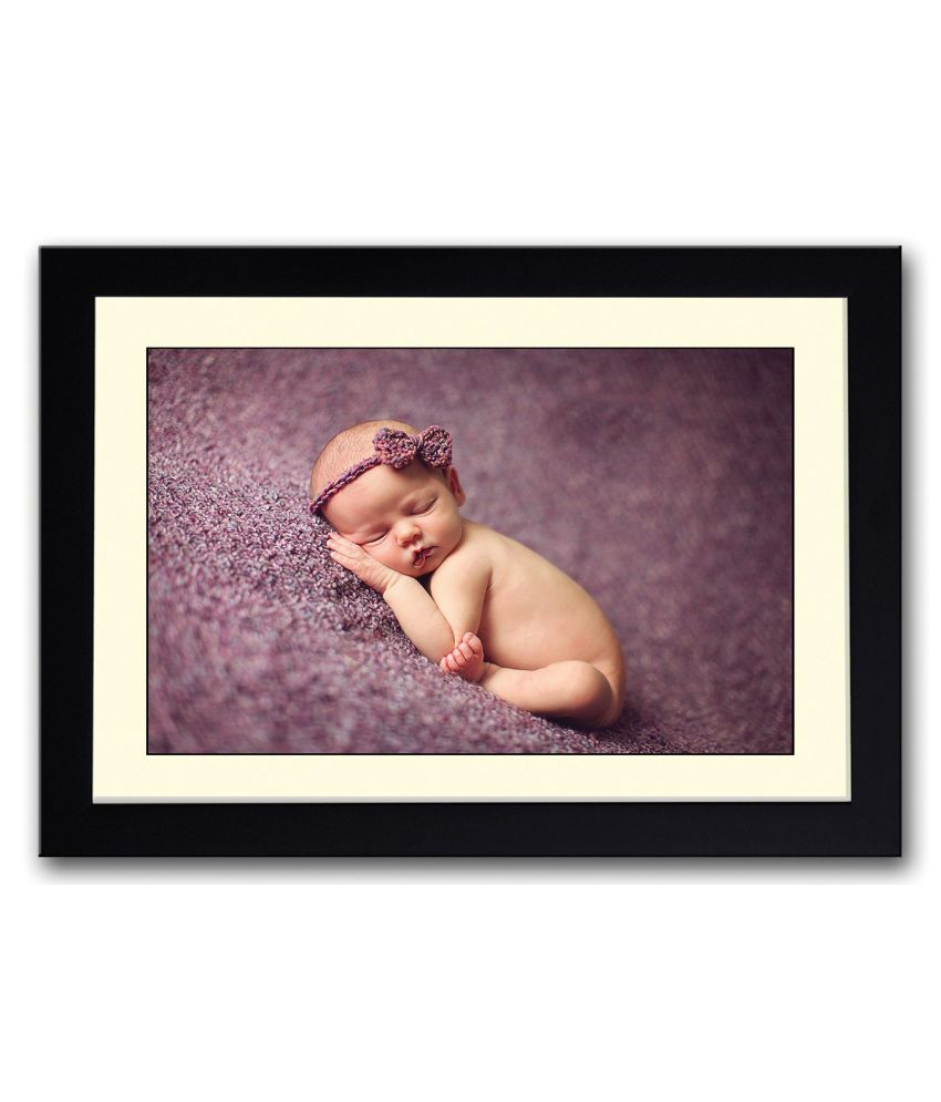 Artifa Matte Sleeping Baby Image Painting With Metal Frame