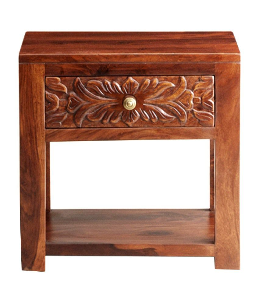 Florance Sheesham Wood Bed Side Table with Storage