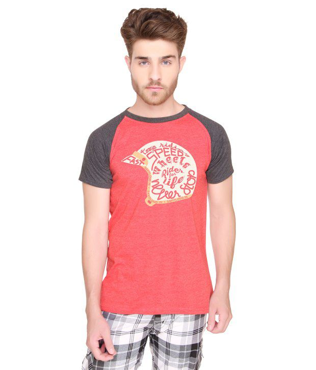 Sayitloud Red Cotton Round Neck T Shirt