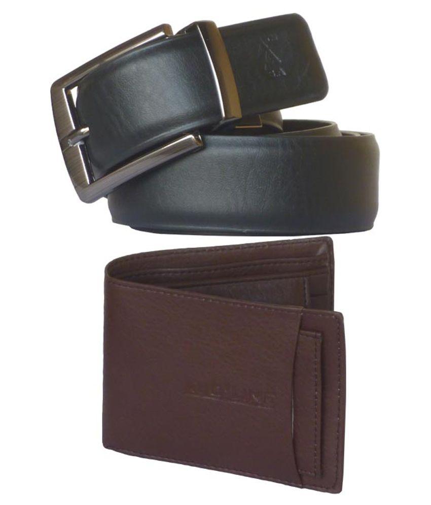 Sondagar Arts Black and Brown Reversible Belt with Wallet