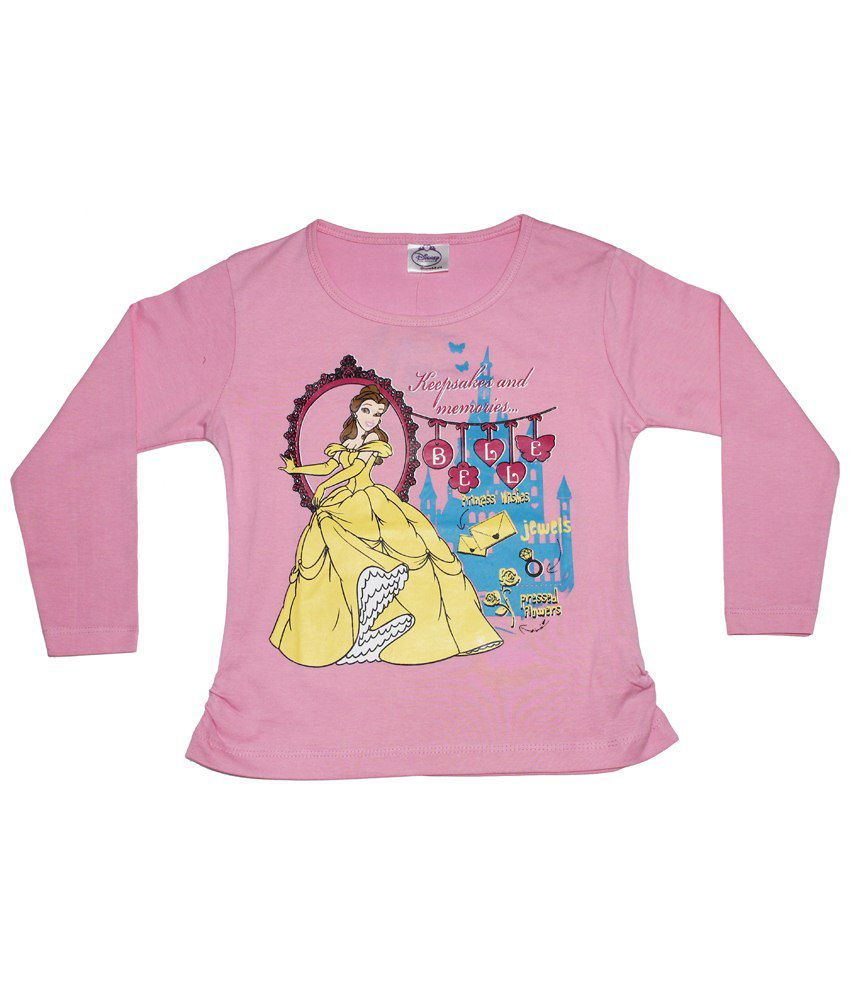 bc361d130cd4 Disney Princess Pink   Yellow Round Neck Full Sleeve Top for Girls ...