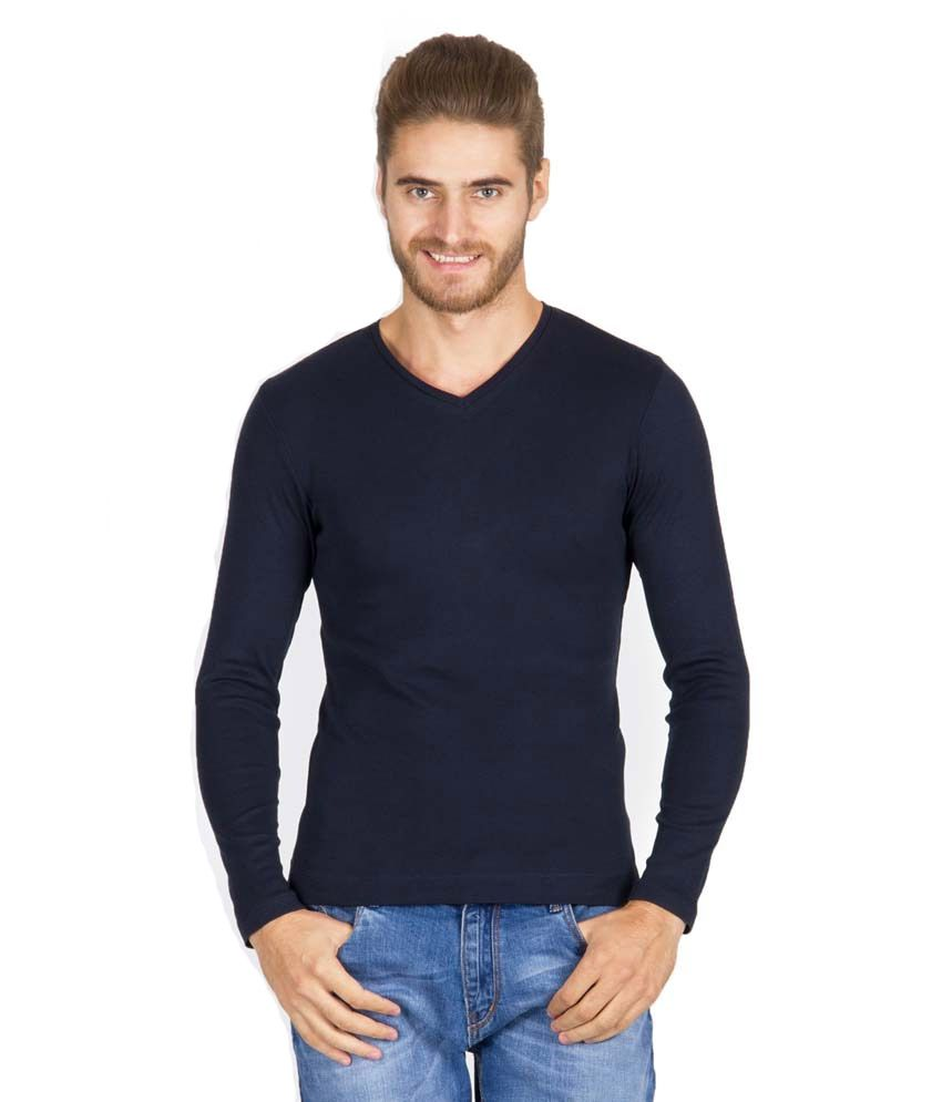 High Street Navy Cotton Blend V-Neck T-Shirt