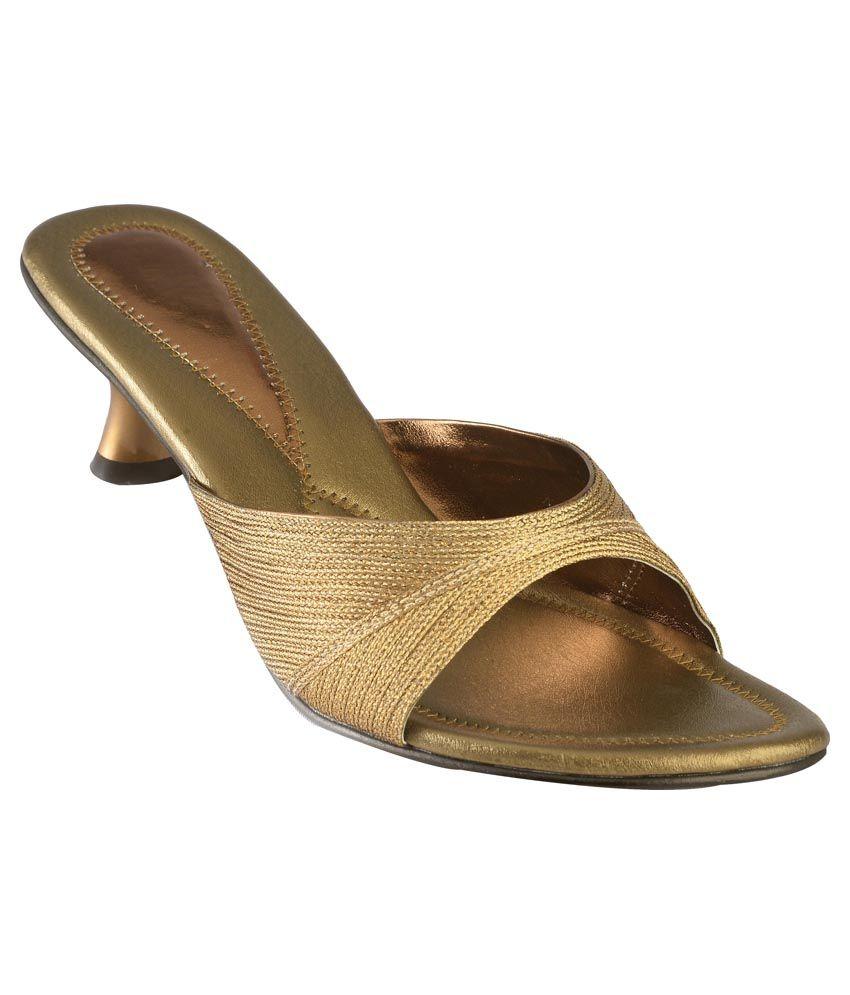 Lady Walker Gold Heeled Slip Ons