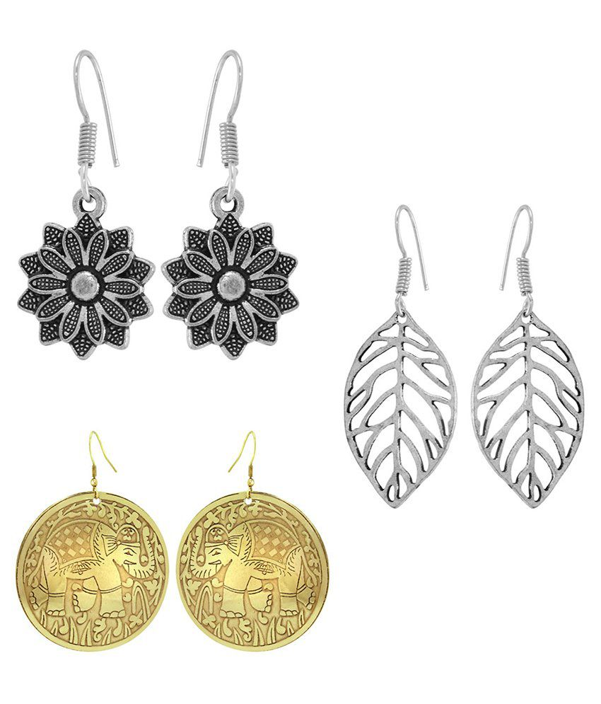 925 Silver Elegant Brass Metallic Earring Combo Set For Women(Set of 3)