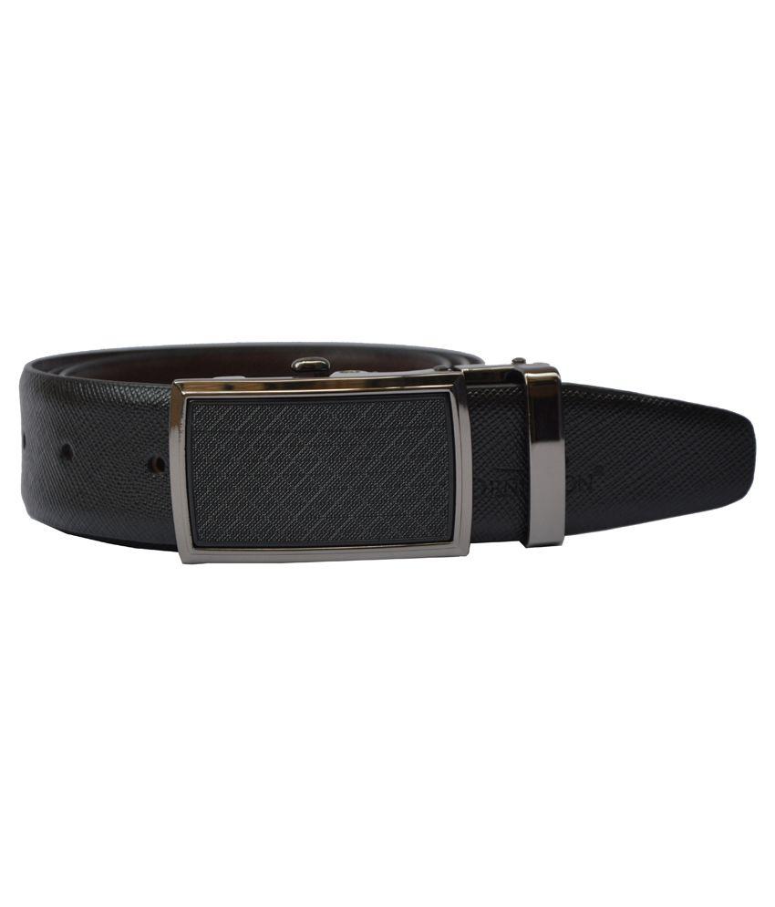 Dennison Black and Brown Reversible Leather Belt For Men