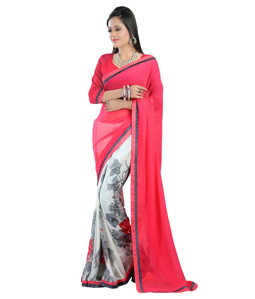 400607810 LBW Pink Pure Georgette Saree - Buy LBW Pink Pure Georgette Saree Online at  Low Price - Snapdeal.com
