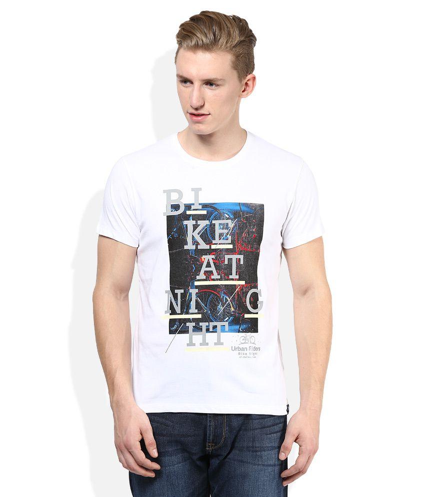 Lee White Printed Round Neck T Shirt